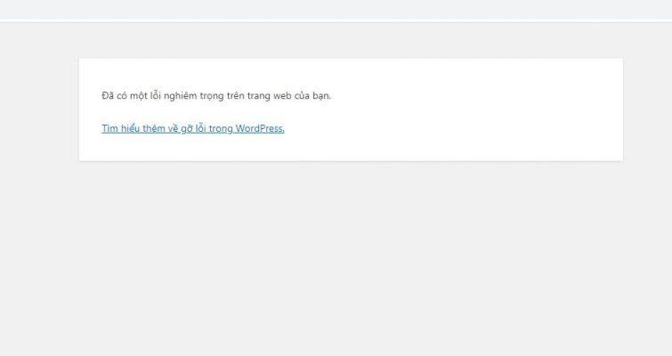đã có một lỗi nghiêm trọng trong wordpress