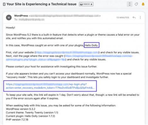 Email thông báo lỗi nghiêm trọng trên website của bạn