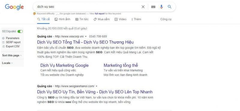 quảng cáo dịch vụ seo