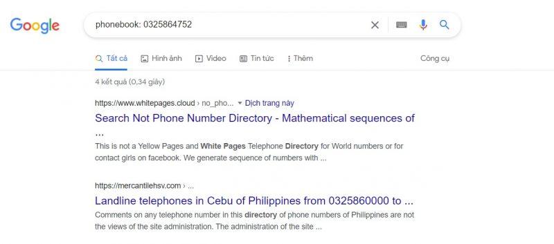 Tìm kiếm số điện thoại