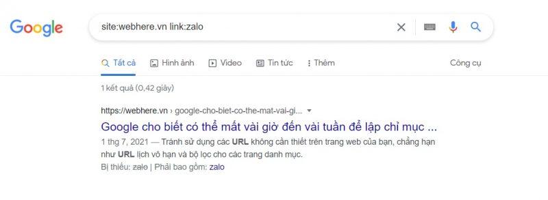 Tìm kiếm liên kết trang